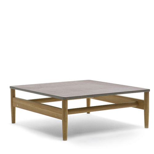 contemporary coffee table / teak / HPL / stone