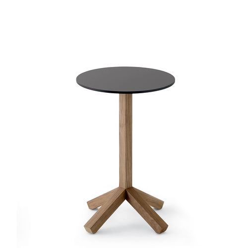 contemporary side table / teak / HPL / stone