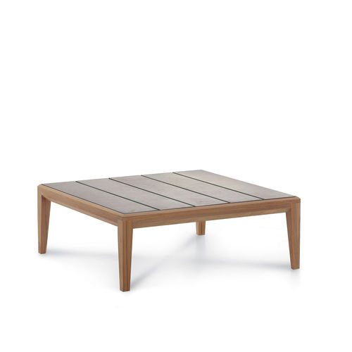 contemporary coffee table / teak / glazed ceramic / square