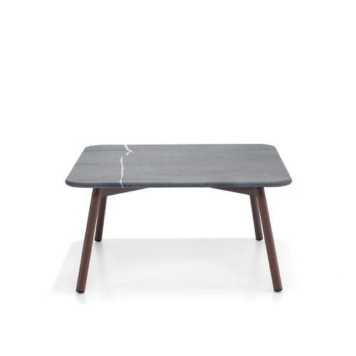 contemporary coffee table / teak / aluminum / HPL