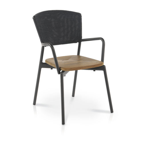 contemporary chair / with armrests / stackable / with removable cushion