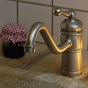 chromed metal mixer tap / mechanical / kitchen / 1-hole