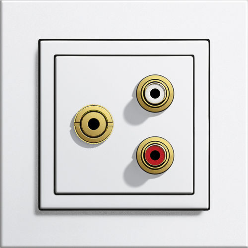 multimedia socket / wall-mounted / contemporary / white