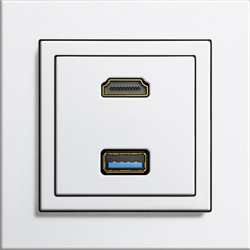 data socket / wall-mounted / contemporary / white