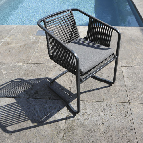 contemporary garden chair / with armrests / stackable / cantilever