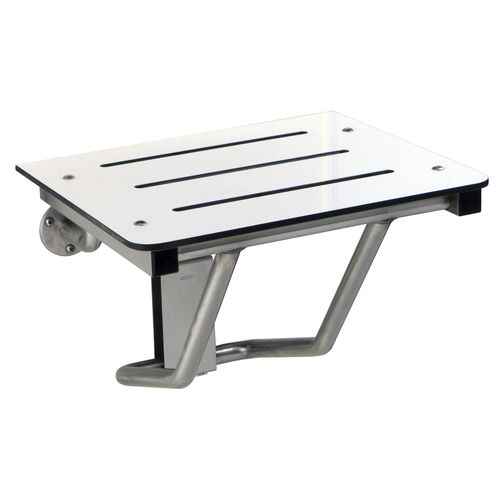folding shower seat / wall-mounted / stainless steel / commercial