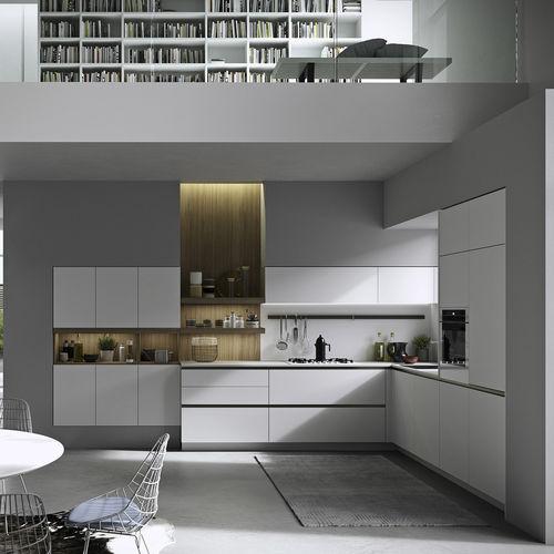 contemporary kitchen / melamine / oak / lacquered