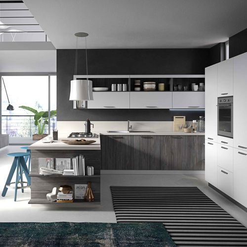 contemporary kitchen / melamine / oak / with handles