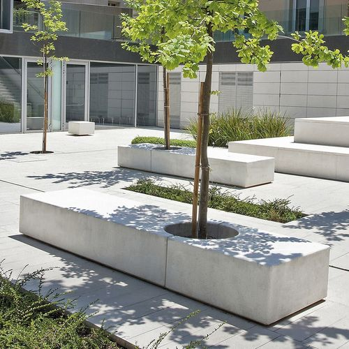 public bench / contemporary / concrete / with integrated planter