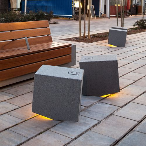 urban bollard light / contemporary / concrete / LED