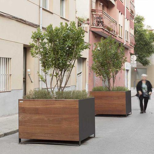 wooden planter / stainless steel / rectangular / square
