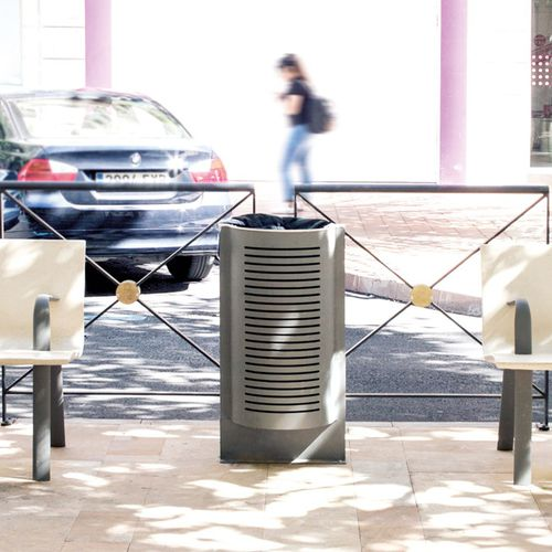 public trash can / built-in / stainless steel / polyethylene