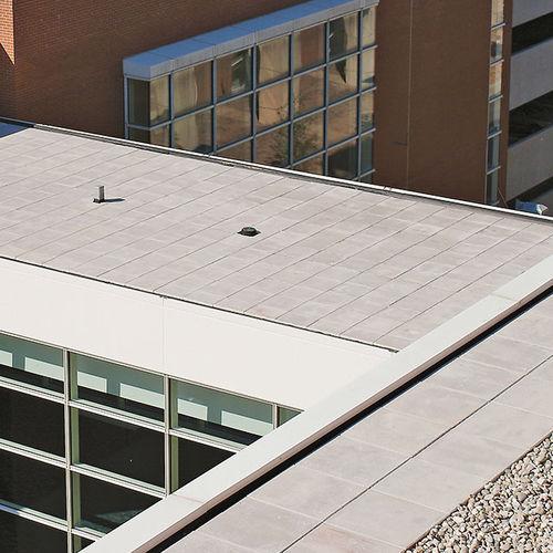 flat roof tile / concrete / gray / slate look