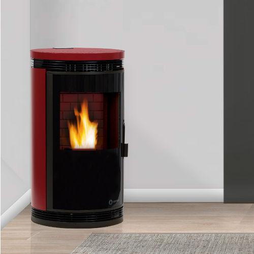 pellet heating stove / multi-fuel / contemporary / metal