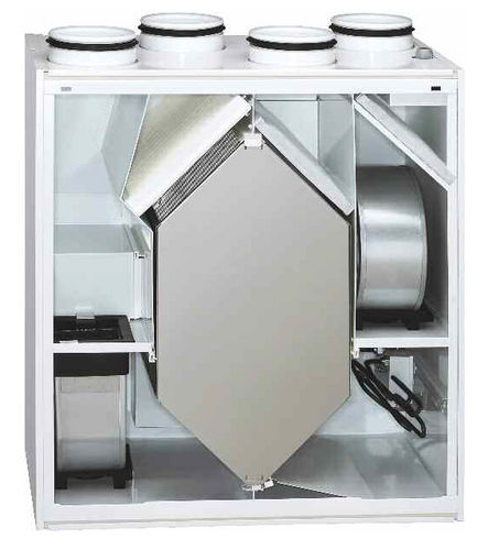 dual-flow ventilation unit / centralized / heat-recovery / for apartments