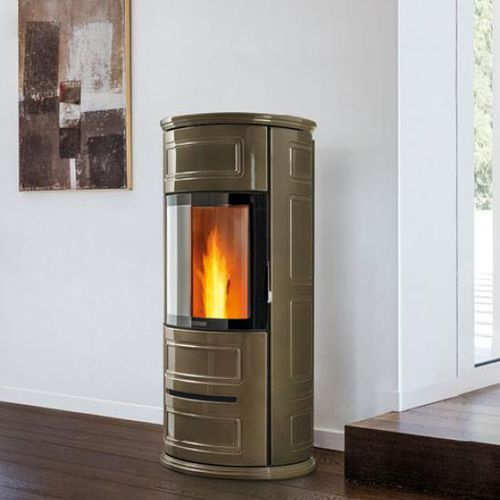 pellet heating stove / contemporary / earthenware / ventilated