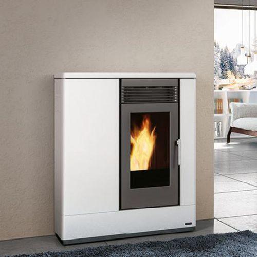 pellet boiler stove / contemporary / steel / earthenware