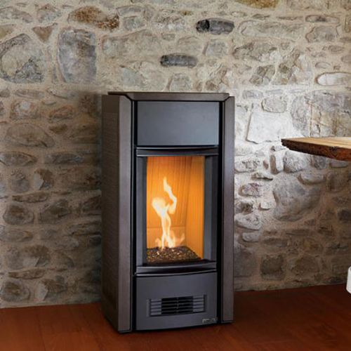 gas heating stove / contemporary / steel / earthenware