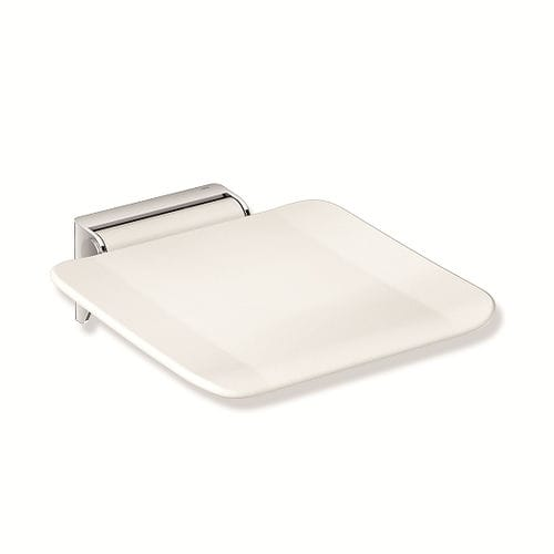 folding shower seat / wall-mounted / stainless steel / home
