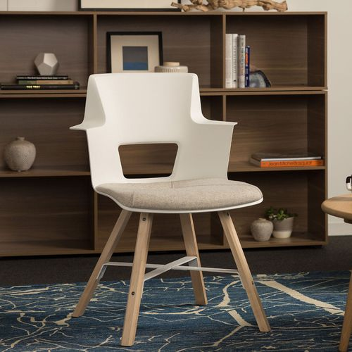 contemporary chair / upholstered / with armrests / maple