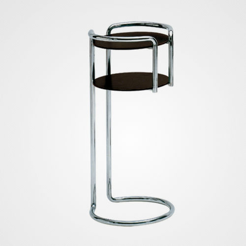 contemporary side table / chrome steel / laminate / chromed metal base