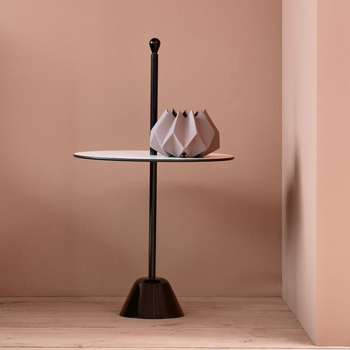contemporary side table / steel / polypropylene / stainless steel base