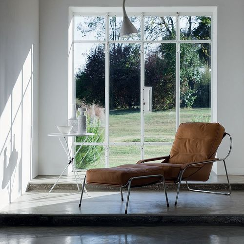 contemporary chaise longue / fabric / leather / stainless steel