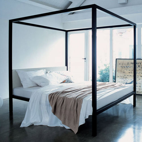 canopy bed / double / contemporary / with upholstered headboard