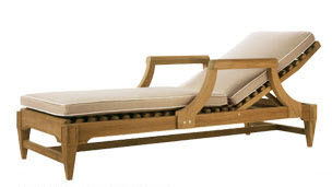 traditional sun lounger / wooden / garden / adjustable backrest
