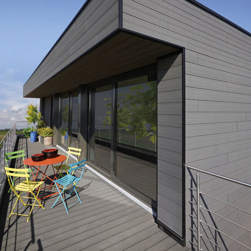 strip cladding / PVC / grooved / wood look