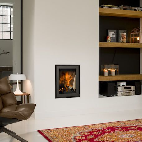 multi-fuel fireplace / wood-burning / contemporary / closed hearth