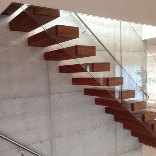 straight staircase / steel frame / wooden steps / without risers