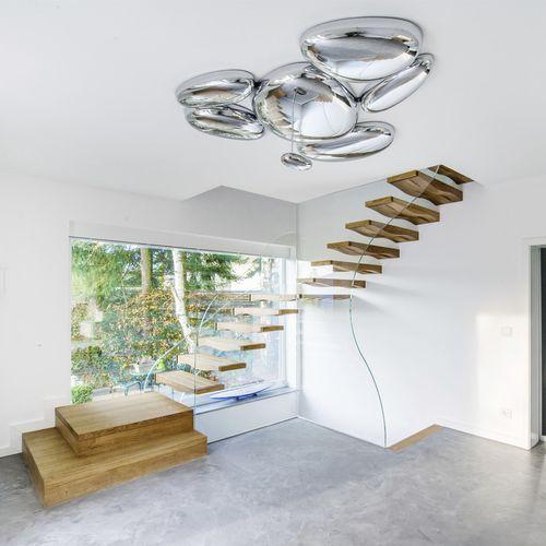 straight staircase / quarter-turn / half-turn / glass frame