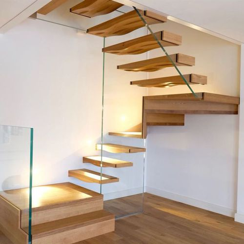 half-turn staircase / oak steps / without risers / contemporary