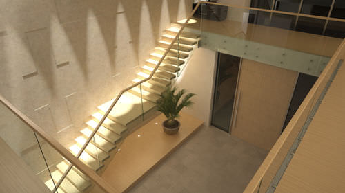 wooden steps staircase / without risers / contemporary / cantilevered