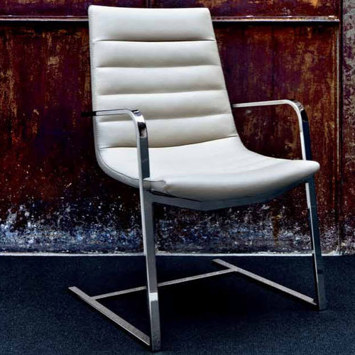 contemporary visitor chair / upholstered / cantilever / fabric