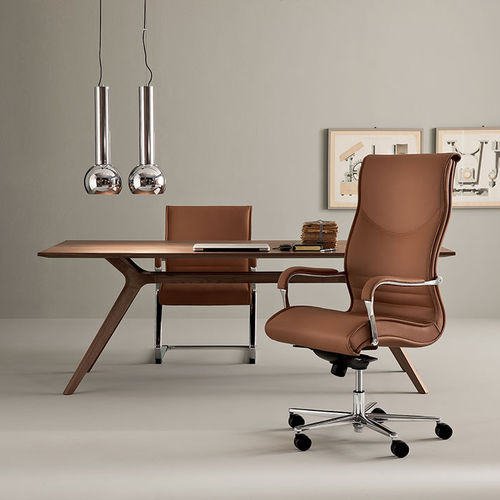 contemporary executive chair / leather / aluminum / swivel