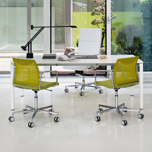 contemporary visitor chair / on casters / with armrests / star base