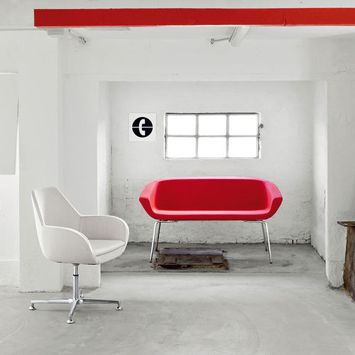 contemporary sofa / leather / 2-person / red