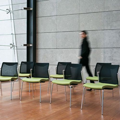 contemporary visitor chair / stackable / steel