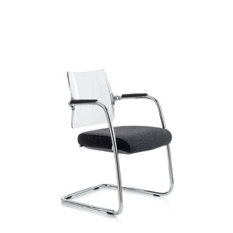 contemporary chair / upholstered / stackable / cantilever