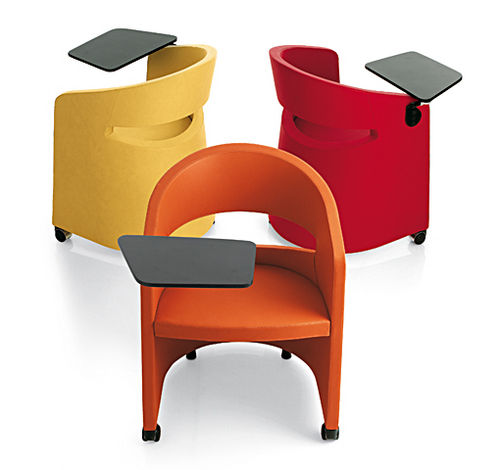 contemporary chair / upholstered / tablet / steel