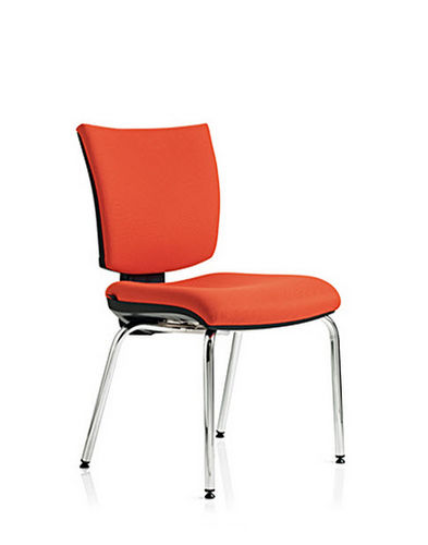 contemporary chair / upholstered / cantilever / steel