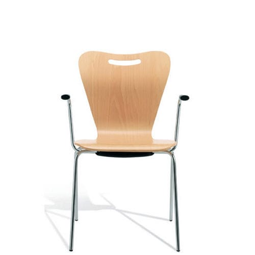 contemporary chair / with armrests / steel