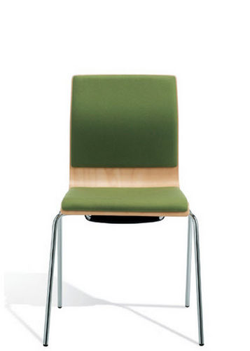 contemporary chair / stackable / upholstered / beech