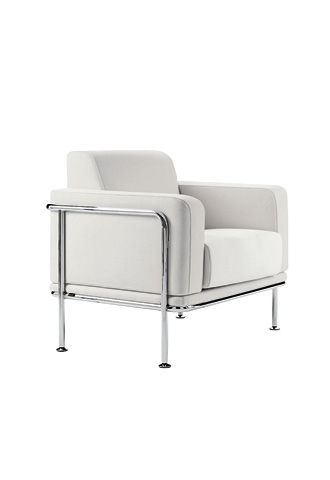 contemporary armchair / leather