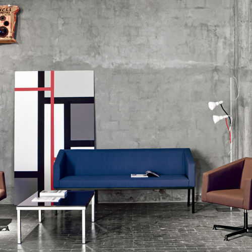 contemporary sofa / leather / 3-seater / blue