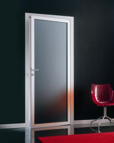 indoor door / swing / wooden / glazed