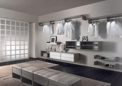 wooden walk-in wardrobe