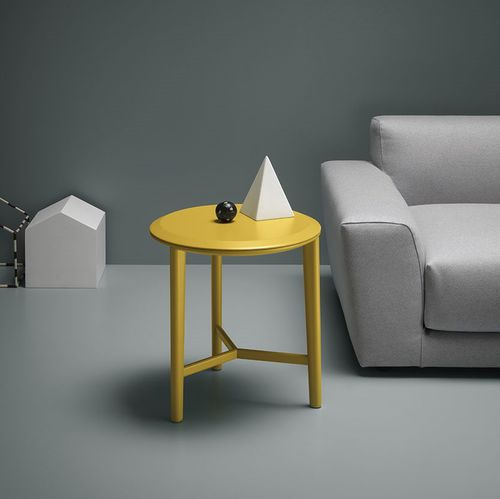contemporary side table / marble / round / yellow
